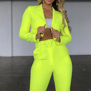 Women's Suit Slim Sashes Cropped Blazer And Pants Outfits Casual Autumn 2019 Neon Fashion Ladies Suits Set 2 Pieces New Clothes