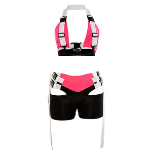 2 Piece Sets Women Sexy Buckle Bralette Tank Top Shorts 2019 Summer Ladies Neon Pink Bandage Cropped Top Set Beach Wear Outfits
