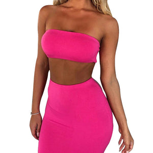 Bodycon Outfits Women 2 Piece Sets Strapless Crop Tops and Mid-Calf Skirts Lady Elegant Fluorescent  Neon Sexy Club Sets GV523