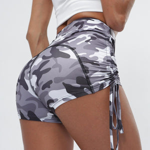 Women Yoga Short Elastic High Waist Camouflage Tie Side Sweatpants Leggings Running Jogging Fitness Gym Workout Short Activewear