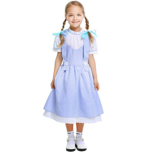 Adult Kids Vintage Style The Wizard of OZ Dorothy Cosplay Costume for Women Halloween clothes for Lady Girls Fancy Party Dress