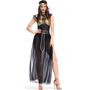 Carnival Party Halloween Egyptian Cleopatra Costume Women Adult Egypt Queen Cosplay Costumes Sexy Golden Fancy Dress M,XL