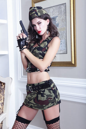 New Women Army Costume Uniform Soldier Cosplay Sexy Role Play Military Tops and Skirt Camouflage Masquerade Fancy Outfits