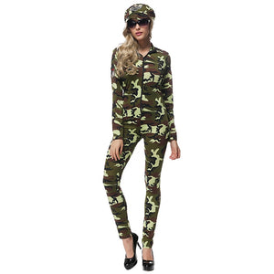 Adult Women Camouflage Army Jumpsuit Uniform Sexy Exotic Long Sleeves Soldier Policewomen Cop Fantasy Fancy Dress