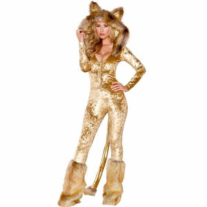 2018 Sexy Lion Costume Halloween Animal Cosplay Costume Jumpsuits Set women Adult Sexy wild Cat Costume Body Suit S-XL Best Gift