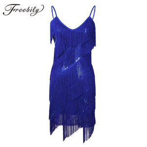 New Latin Dance Competition Dresses Sexy V-Neck 1920s Gatsby Flapper Costumes 4 colors Salsa Dress Sequins Latin Dance Dress