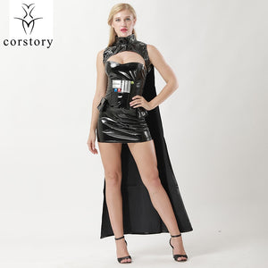 Corstory Black PVC Sexy Warrior Costume Cosplay Halloween For Women 4-Piece Set Carnival Party  Wars Uniform