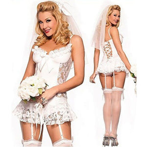 Cheap Women's Bride Costumes Bridal Lingerie Game Uniforms Sexy Bustier Wedding Exotic Apparel Exotic Nightwear Underwear