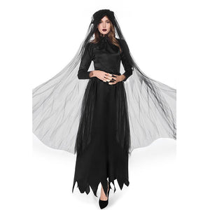 Halloween Costume For Women Zombie Bride Womens Devil Costumes Scary Black Witch Sexy Long Sleeves Dress Theatre Costume