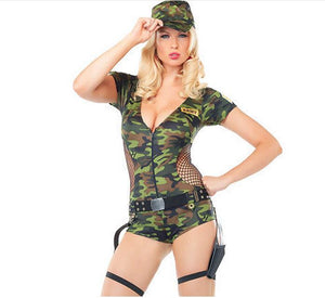 Camouflage Dresses Sexy Halloween Dress Costume For Women Cosplay Agent Army Hat Included Military Uniform Free Shipping