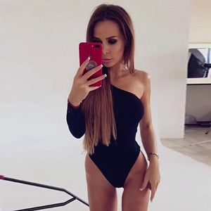 Black One Shoulder Basic Bodysuit Rib Knit Elegant Women Sexy Autumn Bodysuits 2019 Fashion Long Sleeve Skinny Bodysuit