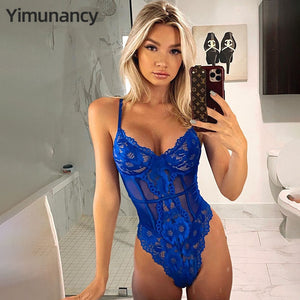 Yimunancy Floral Lace Bodysuit Women Patchwork Mesh Bodysuit 2020 Ladies Summer Skinny Sexy Teddy Bodysuit Body Femme