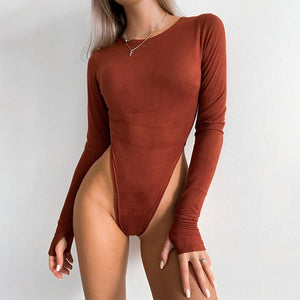 Women Suede Bodysuit Winter O Neck Long Sleeve Sexy Body Top Skinny Casual Solid Lady Khaki Bodysuits Streetwear