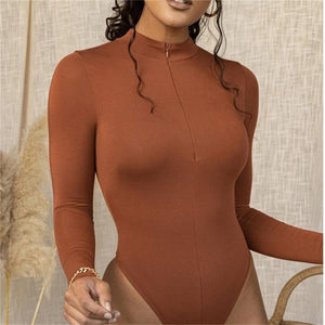 Shestyle Solid Zipper Bodycon Bodysuits Women Sexy Mock Neck Autumn Long Sleeve Fashion Slim Basic Body Winter Gray Outfits Lady