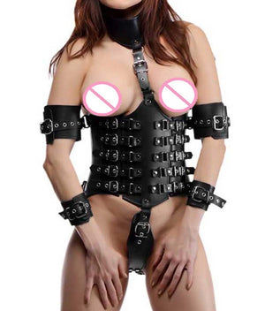 Sexy Female Lock Down Leather Waist Cincher Underbust Corset with Attached Collar  and Arm Restraints  Bondage Fetish Costume