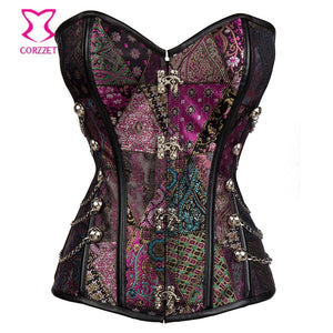 Purple Punk Rave Gothic Corset Steampunk Clothing Women Corselet Plus Size Corsets And Bustiers 6XL Sexy Espartilhos E Corpetes