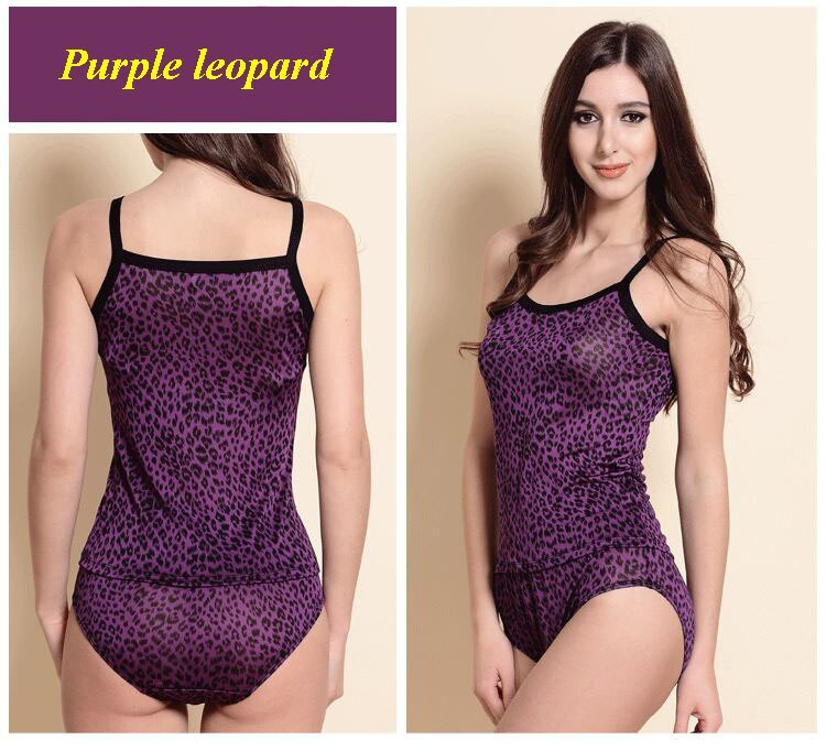100% natural silk knitted purple leopard print spaghetti strap vest panties set,pure silk knitted female underwear set