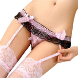 Women Crotchless Sexy Garter Belt for Stocking Black Lace Suspender Belt Open Crotch Pearl Panties Bow Lingerie Garters