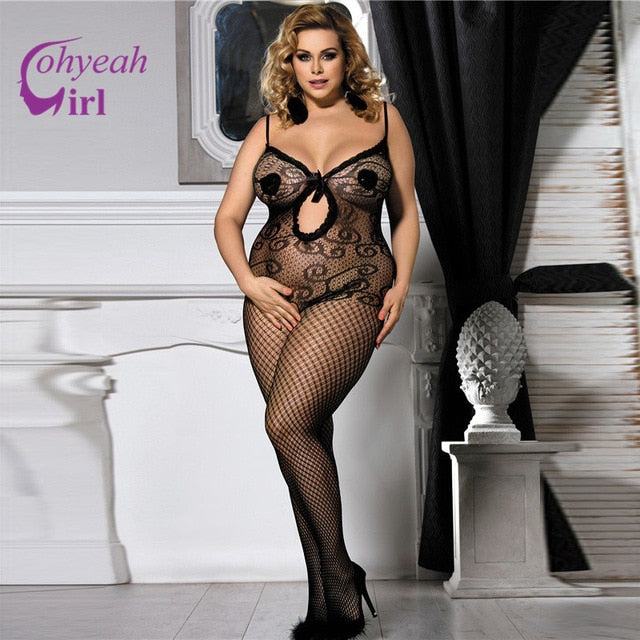 Ohyeahgirl Plus size stretchy body stockings for women sexy breathable net sexy products HW3104 sleeveless belt bodystocking