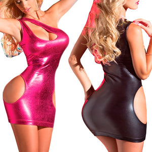 Sexy Fetish Erotic Rose Red Leather Clubwear Dance Lingerie Bodystuit Babydoll Latex Pvc Vinyl Latex Mini Dress Cotillon Cuir