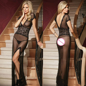 1 Set Sexy long dressing night gown sheer transparent dress evening nightgown nightie sleepwear lingerie + G-string