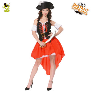 Adult Swashbuckler Costumes Sexy Women Pirate Halloween Fancy Dress Costumes
