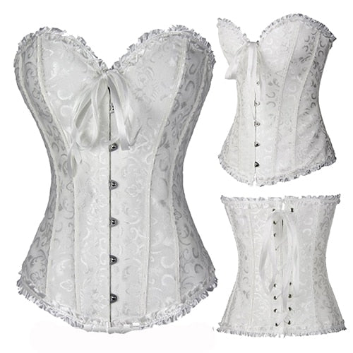 Black/White Sexy Boned Waist Trainer Brocade Corsets Bustiers Embroidery Lace Up Corselet Gothic Plus Size S-6XL Body Shaper