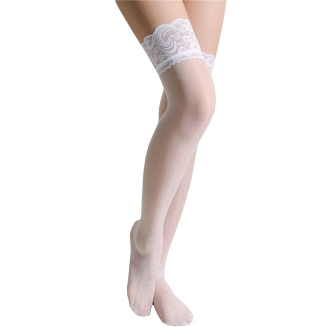SKCOSOCKS Thigh High Stocking Women Summer Over knee Socks Sexy girl Female Hosiery Nylon Lace Style Stay Up Stockings Plus Size