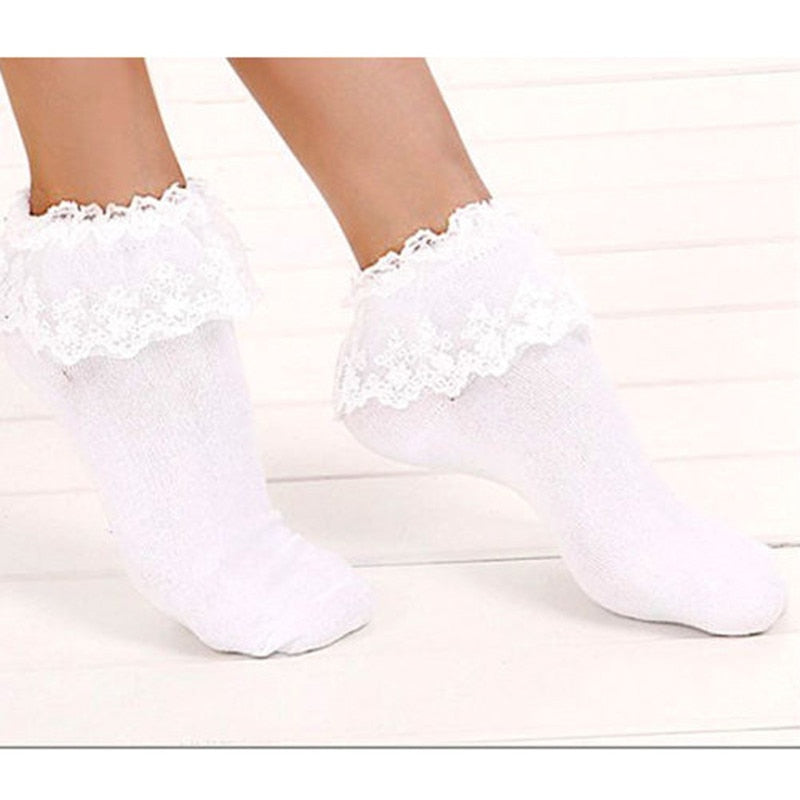 Vintage Lace Ruffle Frilly Ankle Socks Fashion Ladies Princess Girl Black/White  Hot Item White Hottest