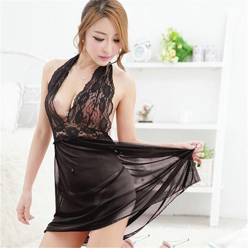 EFINNY Sexy Lingerie Silk Lace Ladies Dress + G-String Sleepwear Underwear Pajamas