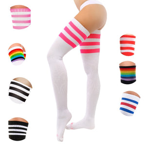 Sexy Women Socks Thigh High Socks Cotton Over Knee Socks Student Japanese Stocking Long Socks Harajuku Hiphop Stripe SW117