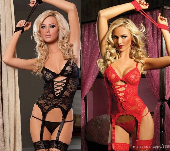 2018 Valentine's Day Sexy Lingerie Hot Erotic Lace Deep V Neck Teddy Sexy Erotic Underwear Lingerie Lenceria Sexy Costume