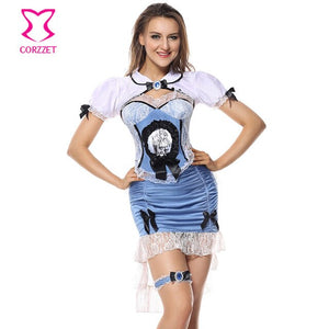 Blue And White 4-Piece Burlesque Outfits Fancy Dress Cosplay Alice In Wonderland Costume Adult Sexy Halloween Costumes For Women