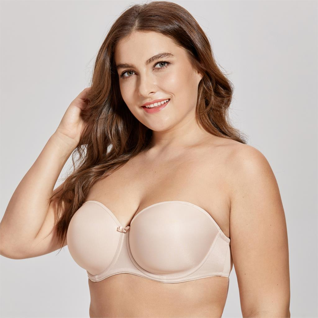 Women's Full Figure Underwire Seamless Slightly Padded Multiway Strapless Bra