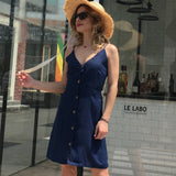 Sexy V-neck Women Summer Dress High Waist Solid Color Beach Dress Casual Spaghetti Strap Mini Vestidos