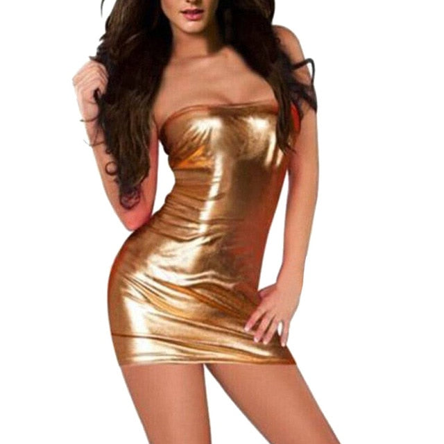 Charmed Women Patent Leather Sexy Tube Dress Lingerie Large Size Nightdress Uniforms Nightclub Clothing Fetisch Latex zy*