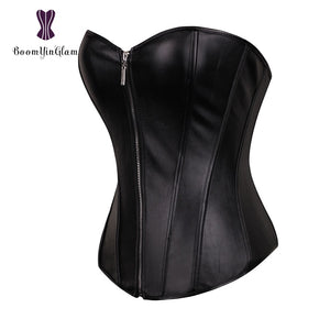 Punk Style Push Up Women'S Plus Size Slimming Body Shapewear Gothic Faux Leather Corset Bustier With Zip 834#