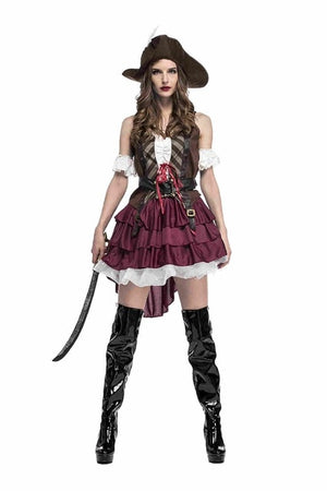 Adult Women Deluxe Sexy Pirate Costume Pirates of Caribbean Female Pirate Captain Cosplay Fancy Dress