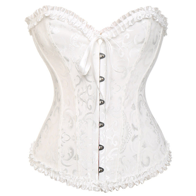 Steampunk Gothic Corset Satin Boned Lace Up Sexy Bustier Women Corselet Corsets and Bustiers Slim Plus Size Multi Colors