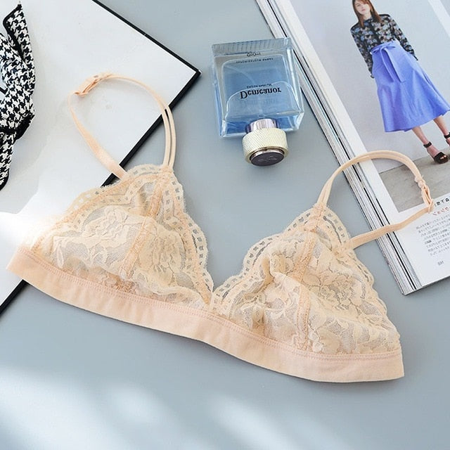 Fashion Thin Sexy Lace Bra Unpadded Bralette Wire Free Push Up Bra Lingerie Breathable Bras For Women Retro Soutien Gorge bh