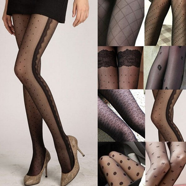 Fashion Sexy Women Lace Core Thin Black Silk Stockings Slim Tights Classic Small Dot Lady Pantyhose Female Hosiery 11 Styles