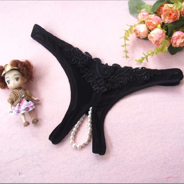 New Women Sexy Opening Crotch Panties Ladies Lace Briefs Underpants Female Lingerie Sexy Underwear Women Pearls Thong G-String