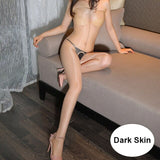 Hot Sexy Erotic Lingerie Bodystocking 1D Thin Open Crotch Oil Shine Glittering Stockings Bodysuit Women Transparent Sex Costumes
