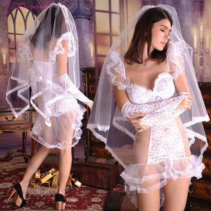 White Wedding Dress Bridal Transparent Romantic Nightgown Exotic Apparel Sexy Costume Selebritee Sexy Lingerie Hot Lace BabyDoll