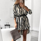 VIEUNSTA 2019 Spring V-neck Shirt Dress Snake Print Wrap Dress Women Autumn Long Sleeve Irregular Mini Dress Female Robe Vestido