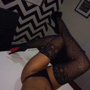 New Sexy Crystal Fishnet Stockings Tights Rhinestone Pantyhose Sexy Lingerie Black Lace Thigh High Stockings For Women Medias