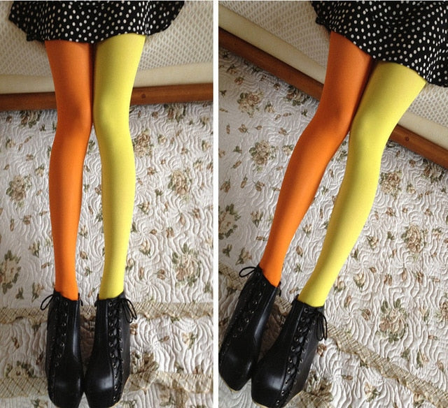 Women Patchwork Footed Tights Stretchy Pantyhose Stockings Elastic Two Color Silk Stockings Skinny Legs Collant Sexy Pantyhose