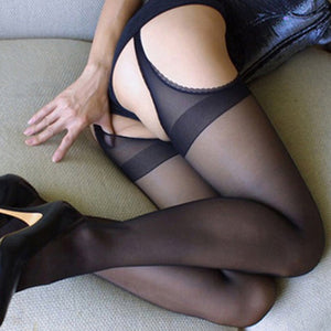 Sexy Open Crotch Tights Women Crotchless Tights Stretchy Sheer Pantyhose Black Collant Ouvert Femme Strumpfhose