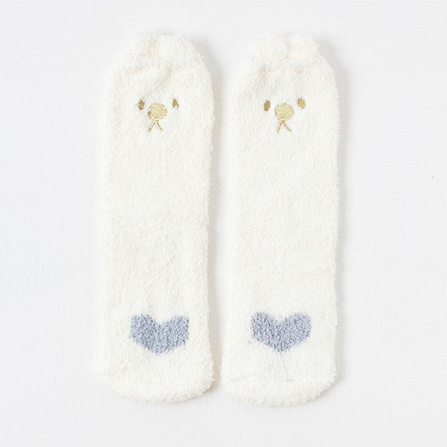 PEONFLY Embroidery CAT Deer Thickening women cotton Lovely  Plush Keep Warm Sleep ladies funny cute Socks hosiery Winter kawaii
