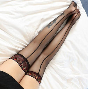 Women Knee-High Lace back Seam Stockings Nylon Female Sexy Sheer Peacock Flower Long Tights Thigh Pantyhose Hosiery